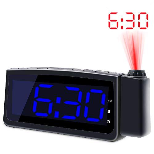 Projection Alarm Clock Radio - Koviti FM Radio Alarm Clock with Dimmer, Ultra Clear LED Digital Alarm Clock to Ceiling Wall, Dual Alarm Snooze Sleep Timer for Heavy Sleepers