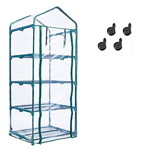 Worth Mini Ourdoors Indoor Greenhouse, 4 Tier 4 Shelf and PVC Cover Green House with Wheels, Plant Tower for Growing Seeds, Seedlings, Tending Potted Plants