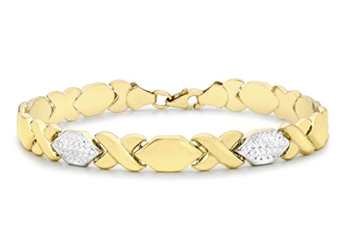9 ct or 2 couleurs Coupe Diamant Hugs and Kisses Bracelet Femme - 19 cm/7,5 ""