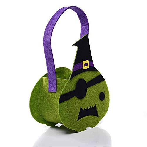 (ATOLY Green Pirate Hat Bag Trick Or Treat Bag Reusable Durable Tote Bag Storage for Kids, Green)