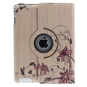 Conseguir Curva de vid de la flor del patrón de 360 ??grados giratoria cuero del cuerpo completo de la PU con el soporte para el iPad 2/3/4