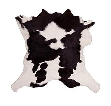 HomeStylist Tappeto in pelliccia di mucca / vitello / toro - nero ...
