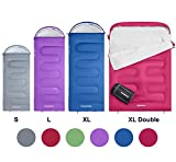KingCamp Oasis 3 Season Sleeping Bag Adults with Compression Sack in 6 Colours Left & Right Zipped sleep-bags Joined for Extra Space for Outdoor & Indoor (Purple R)