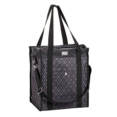 (Pursetti Utility Tote Bag (North-South Style) - Perfect as Commuter Bag with Exterior & Interior Pockets for Working Women, Teachers, Nurses and More (Black Trellis))