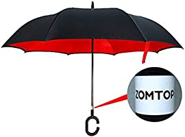 Zomtop innovador invertido paraguas de doble capa revés paraguas ...