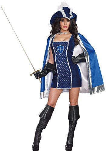 Dreamgirl Women's Mighty Musketeer French Conqueror Warrior Costume, Blue, X-Large