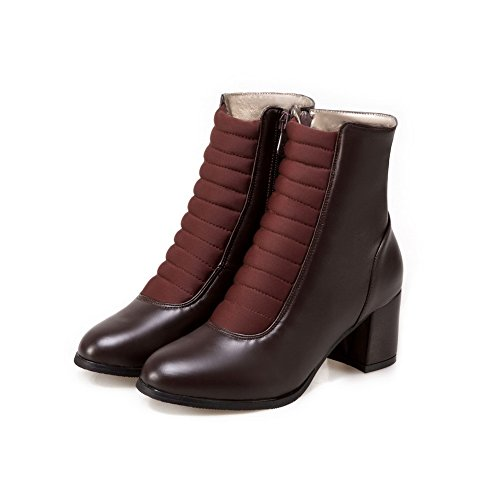 Womens Urethane Leather Lining Boots Brown AN Waterproof No Closed Smooth Closure DKU01808 Road Boots Heeled Toe Warm amp;N A Road Bootie qaBxSwBTE