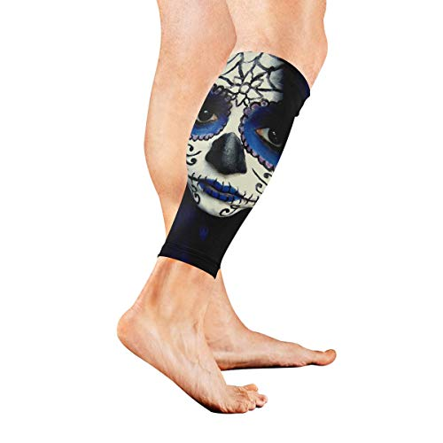 Leg Sleeve Guy Sugar Skull Makeup Compression Socks Support Non Slip Calf Sleeves Pads - Improve Circulation for Shin Splint, Calf Pain Recovery, Running, Cycling, Travel, 1 -