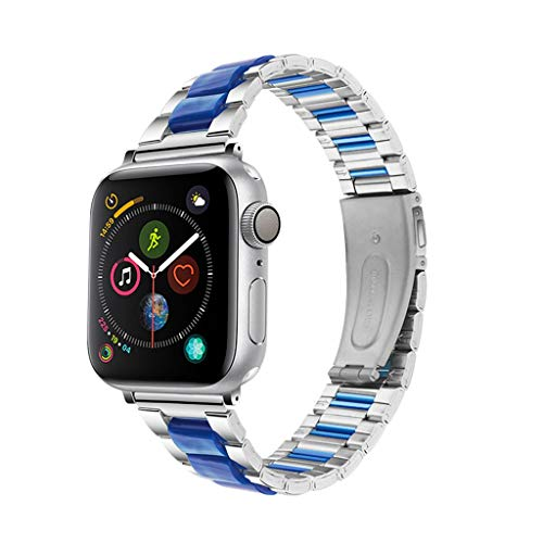 Compatible with Apple Watch Band 42mm 44mm for Women Men Small Large, Tuscom Stainless Steel and Resin Replacement Strap iWatch Wristband Bracelet for Apple Watch Series 4 3 2 1 (Blue)