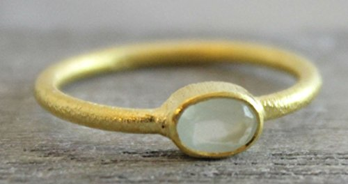 Petite Oval Aqua Chalcedony Gemstone Gold Plated Sterling Silver Ring, size 7