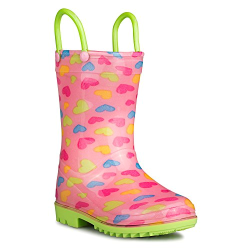 Price comparison product image [SBR901-HRT-Y13] Chillipop Rainboots for Boys, Girls & Toddlers – Fun Kids Prints, Pull On Handles