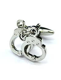 Tailor B Silver Handcuff Cufflinks Police Cuff Links Gemelos 011084-1