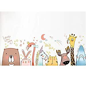 Cartoon Animal wall sticker bedroom background decoration DIY removable self-adhesive wall sticker