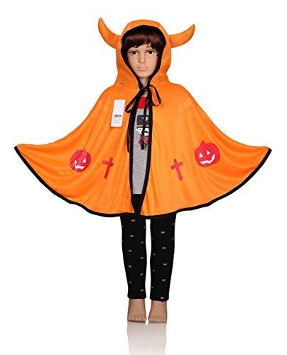 [ProEtrade Child Costume Cosplay Pumpkin Cape Hooded Devil Style For Halloween (Orange)] (Childs Bat Costume Pattern)