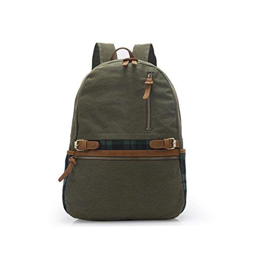 TT Hombro de la lona de la moda bolsa bolso de la computadora de mano transpirable viaje Mochila , khaki army green