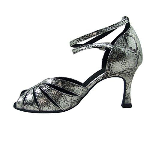 Jig Foo Sandalen offene Latin Salsa Tango Ballroom Dance Schuhe für Frauen mit 7cm Ferse Silber