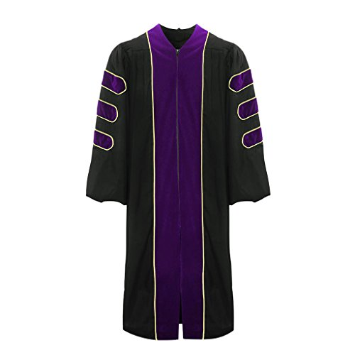 lescapsgown Deluxe Doctoral Graduation Gown-Purple Trim Gold Piping(Purple Size 57) by lescapsgown (Image #1)