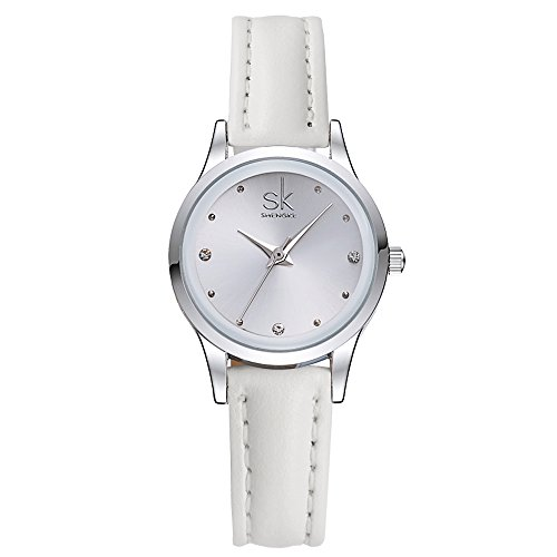White No Leather Band - SK Cute Small Dial Leather Strap Watches for Women and Girls (White)
