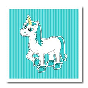 ht_175387_1 Janna Salak Designs Fairy Tale - Unicorn Blue and White - Iron on Heat Transfers - 8x8 Iron on Heat Transfer for White Material