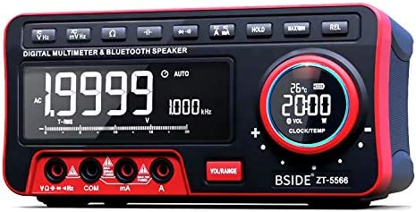 BSIDE Dual Display Digital Multimeter EBTN LCD Wireless Speaker Clock 19999 Counts Desktop DMM with 2Pcs 18650 Battery