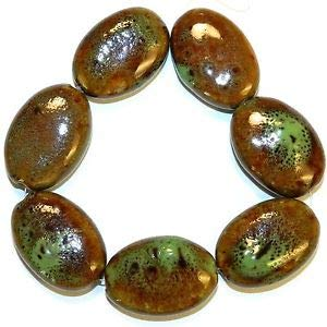 (Steven_store CPC325f Brown & Green Multi-Tone Large 32mm Flat Puffed Oval Porcelain Beads 8