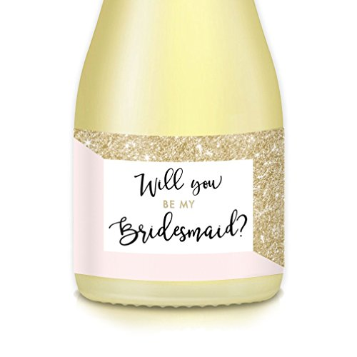 Future Mrs. Asks Bridesmaid, Maid Matron of Honor Wedding Party with Pink & Gold Mini Champagne Bottle Labels, Set of 10 Gift Bag, Box Decals 3.5