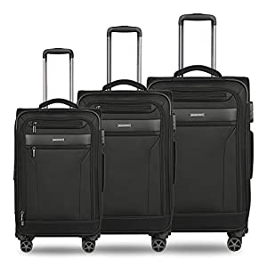 Nasher Miles Berlin Expander Soft-Sided Polyester Luggage Set of 3 Black Trolley Bags (55, 65 & 75 cm)