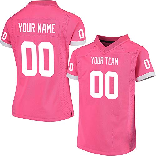 Custom Youth Girls Pink Mesh Football Game Jersey for Kids Swen Team Name and Your Numbers,White Stripe Size ()