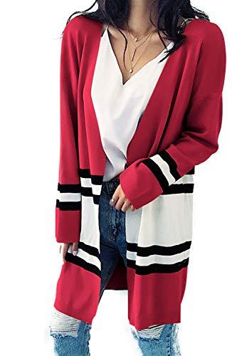 Felpa Cardigan Righe Aperto A Rosso Con Da Patchwork Donna Davanti Colorblock Sul tqwqFX