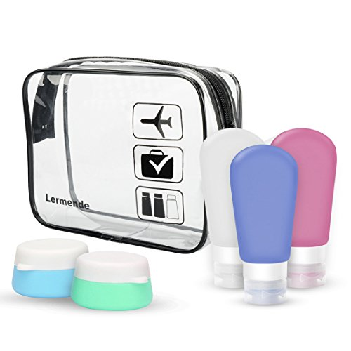 Lermende Portable Soft Silicone Travel Bottles Containers Set with Clear Toiletry Bag TSA Approved Carry On Airport Airline Compliant Bag Quart Sized Leakproof Pouch With 3 Bottles 2 Jars