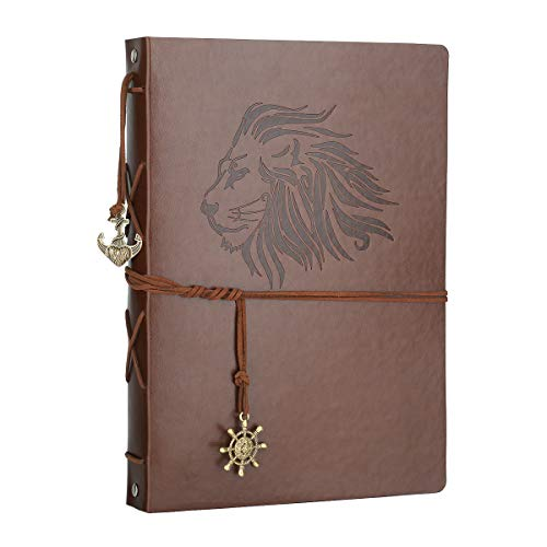 Scrapbook Album, AIOR DIY Photo Album Vintage Leather Memory Book Self Adhesive Wedding Guest Book, 11 x 8.3 inches 60 Pages, Vacation Gifts Birthday Anniversary Presents for Women Men Mom Dad, Lion