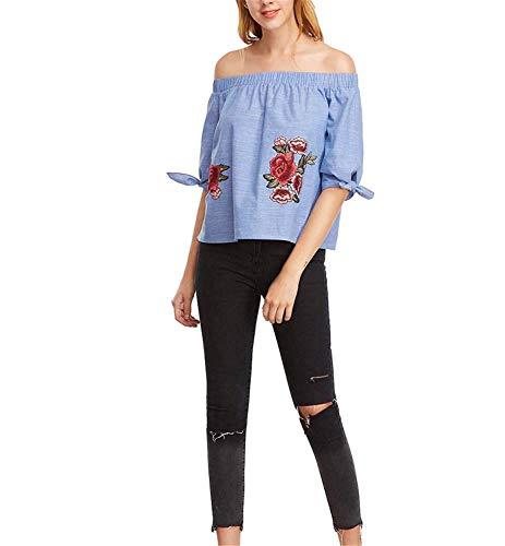 Blouse Bouffant Femme 4 Rose Fille Shirts Et Manches Carmen Elgante Shoulder Fleurs Brode Blouse Haut Loisir Tops 3 Mode breal Off Jeune Bild rr0Zwq