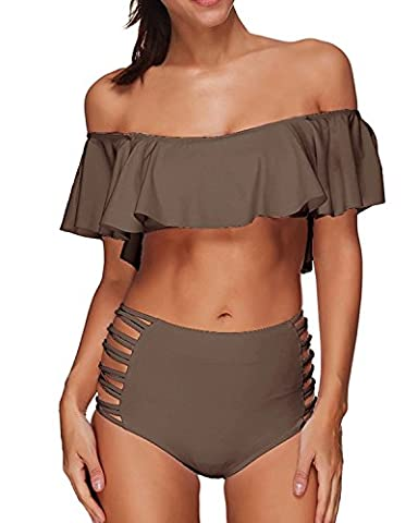 Memory baby Two Piece Women's Halter Off the Shoulder Flounce Swimsuits High Waisted Bikini Sets (Small, - Brown 2 Piece Bikini Swimsuit