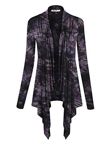 - WSK1072 Womens Off-Duty Open Front Tie Dye Cardigan S Black
