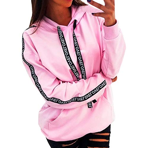 Rambling Hot Style Women Plus Size Long Sleeve Solid Sweatshirt Hooded Pullover Tops Shirt Pink