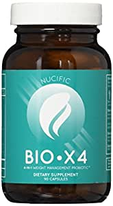 Bio-x4 Probiotic, Metabolism Boost, Appetite Suppress, Digest Help, 4 in One, 90 Capsules by Nucific