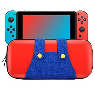 MoKo Carrying Case for Nintendo Switch, Portable Protective Hard Shell Cover Travel Carrying Case Storage Bag with 10 Cartridge Holder for Nintendo Switch Console – Red + Blue