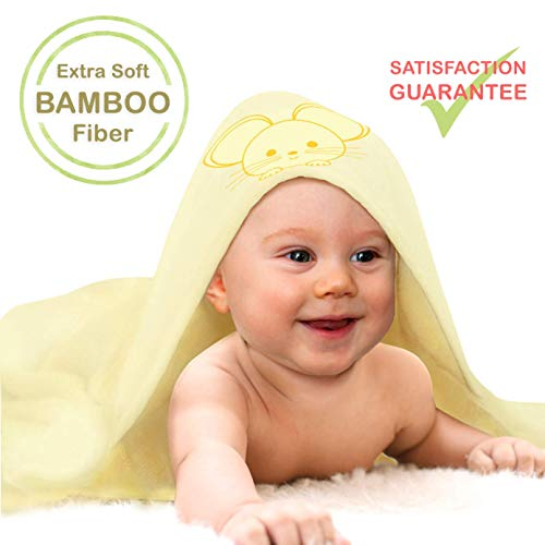 Premium Extra Soft Bamboo Baby Hooded Towel, Infant & Toddler Bath Towel with Hood, Organic and Hypoallergenic, Light Yellow, Large 35x35 Inches with Cute Cartoon Embroidery, Baby Gift