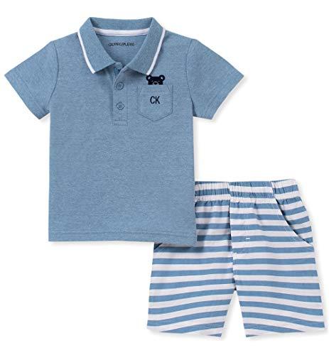 (Calvin Klein Baby Boys 2 Pieces Polo Shorts Set, Infinity Blue Stripes, 12M)