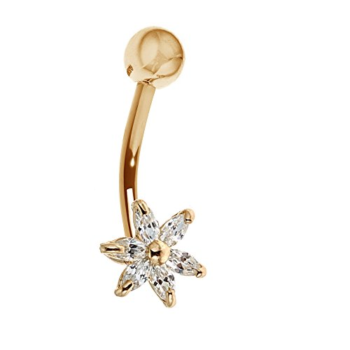 14k Yellow Gold Belly Button Cubic Zirconia 6 Petals Flower Navel Ring (Belly 14k Gold Button Ring)