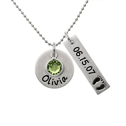 Personalized Let's Celebrate Necklace. Customize a Sterling Silver Disc and, Rectangle Disc and Birthstone. Choice of Sterling SIlver Chain. Swarovski Birthstone, Baby Feet. Gift for Mothers. ()
