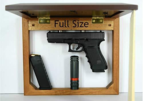 (Concealment picture frame, hidden in plain sight, home defense compartment, hanging safe, gun stash, pistol wall mount storage, magnet brown)