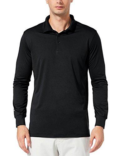Baleaf Men's UPF 30+ Performance Quick Dry Golf Solid Polo Active Shirt Long Sleeve Black Size - Shirts Custom Running Team