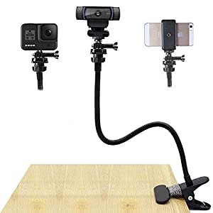 27 Inch Flexible Desk Gooseneck Webcam Stand with Phone Holder Compatible with GoPro HeroLogitech