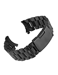 Beauty7 20m Stainless Steel Curved End Link Wrist Watch Band Strap Replacement Fold Over Clasp