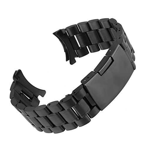 Beauty7 Black/Silver 16-24mm Stainless Steel Curved End Link Wrist Watch Band Bracelet Strap Replacement