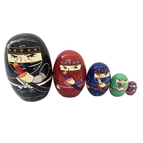 AOLVO 5pcs Handmade Wooden Russia Nesting Dolls Set,Hand Painted Nutcracker/Panda/Ninja/Japanese Girl Matryoshka Russian Nesting Wishing Dolls