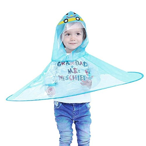 PIKAqiu33 Kids Raincoat Cartoon Raincoat Packable Children's Hooded Poncho Cloak UFO Children Umbrella Hat Magical Hands Free (Blue)