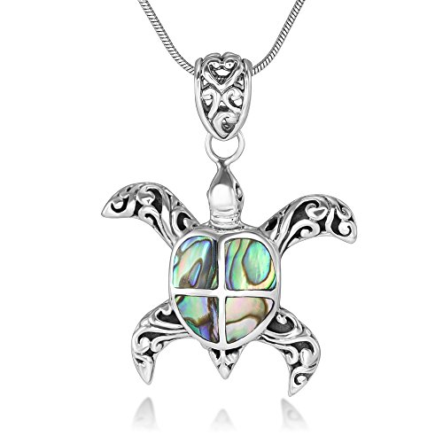 Sterling Silver Natural Abalone Shell Inlay Filigree Sea Turtle Pendant Necklace 18