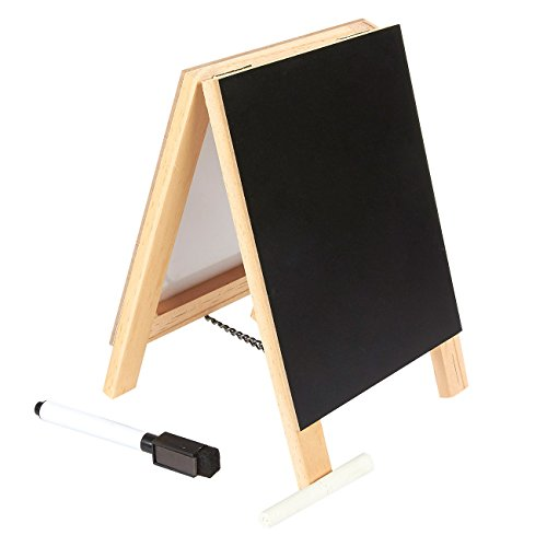 Juvale Double Sided Chalkboard Stand and Dry Erase Sign - Dual Wooden Tabletop Easel and White Board Stand for Kitchen Counter, Home Office, Cafe, 5.5 x 7.87 x 1 Inches by Juvale